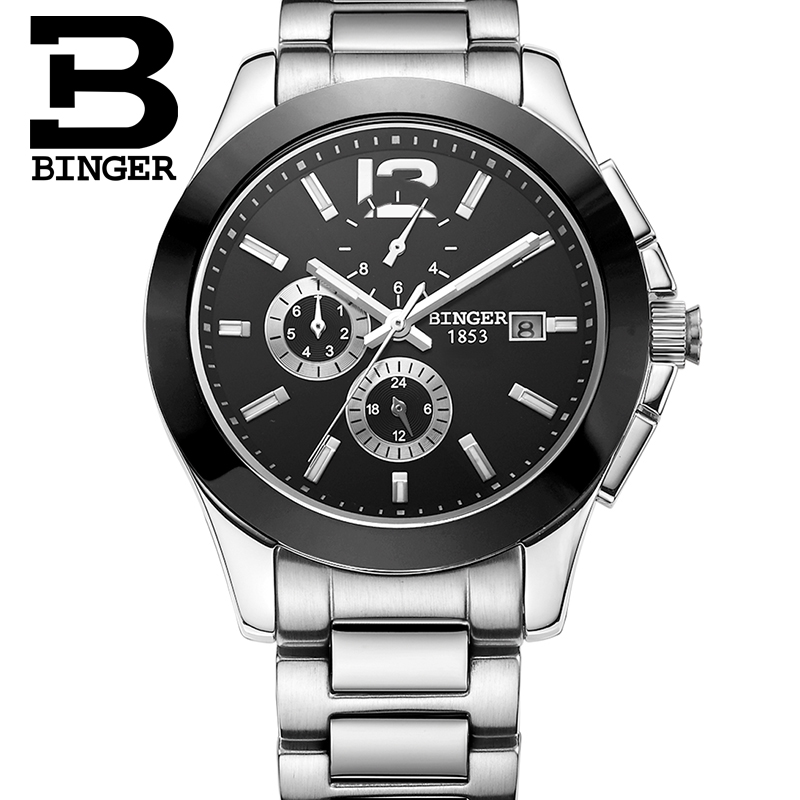 425325fdffd De luxo Da Marca Suíça BINGER relógios de Pulso Mecânico Relógios De Pulso  De Cerâmica relógio dos homens do relógio à prova d  água B627-2