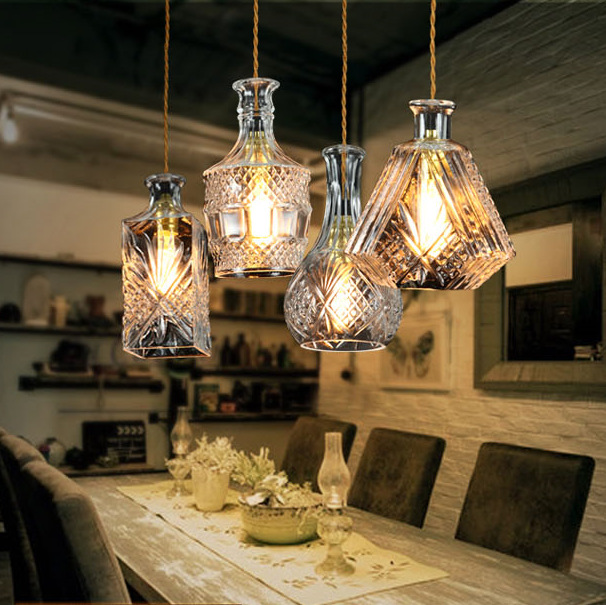 Retro Hanging Glass Bottle Pendant Lamp Craved Clear Glass Suspension Light For Bar Cafe Restaurant Dining Room E27 Pendant