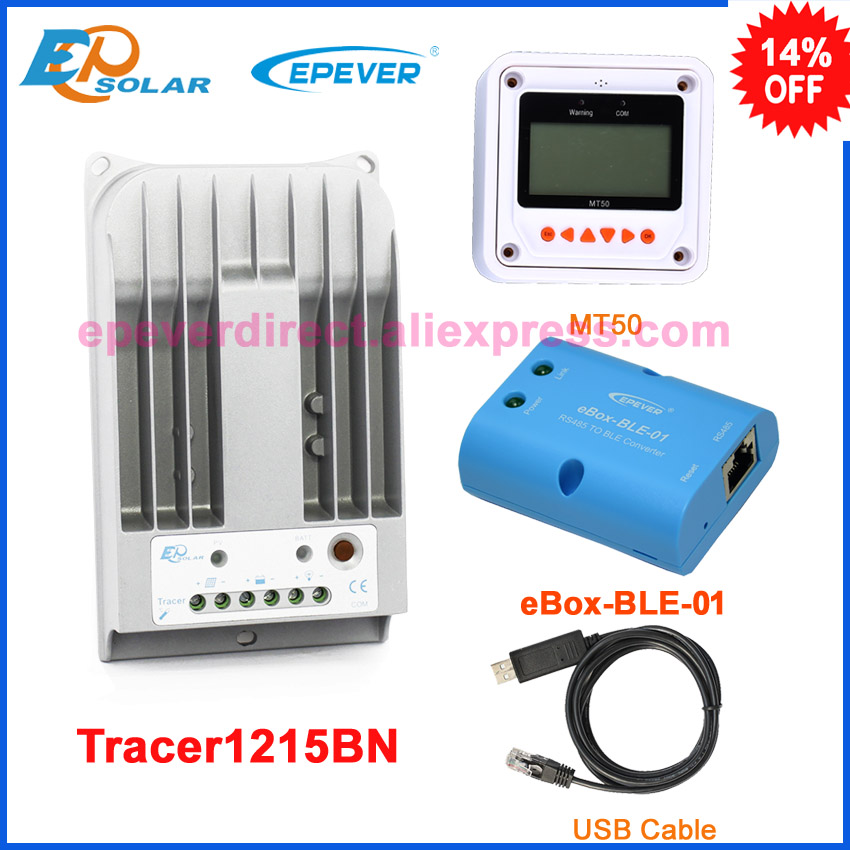 Tracer1215BN EPEVER Charger solar controller 10A 10amp BLE bluetooth function temperature sensor MT50 meter free shipping epever solar controller portable charging tracer1215bn with usb cable and temperature sensor 10a 10amp mt50