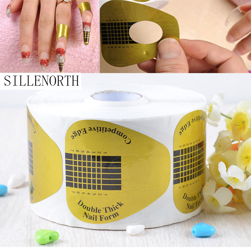 SILLENORTH U Shape Nail Form Art Nail UV Gel Unloading paper Golden Tip Extension tools Forms Guide French Acrylic 500Pcs/lot 500pcs bag 13 18mm flat back oval shape acrylic rhinestones acrylic plastic 3d nail art garment jewelry rhinestone