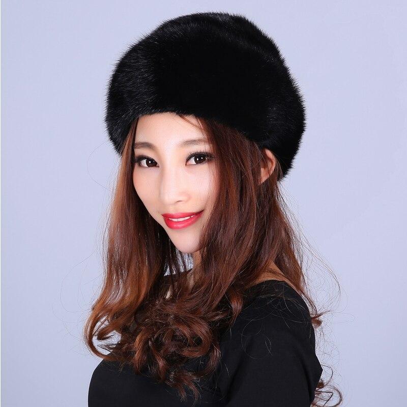 Mode fourrure chapeau pour femmes solide réel vison fourrure Style décontracté fourrure belle nouvelles casquettes bonnets femme hiver chapeaux russe bonnets - 5