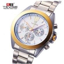 Marca de Relojes de lujo TEVISE Mecánico Automático de Los Hombres Reloj Grande Del Dial de Reloj Del Calendario Reloj de Acero Para Hombre Relojes de Pulsera Relogio masculino