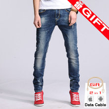 New mens skinny jeans ripped jeans homme biker jeans hip hop jeans Men's Clothing straight Blue 28-36#YZ6601