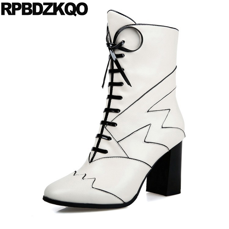 font b Black b font And White Short Genuine Leather High Heel font b Women