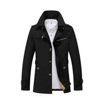 2017 New Fashion Men Are Upscale In Winter Slim Fit Casual Trench Coat Male Pure Color