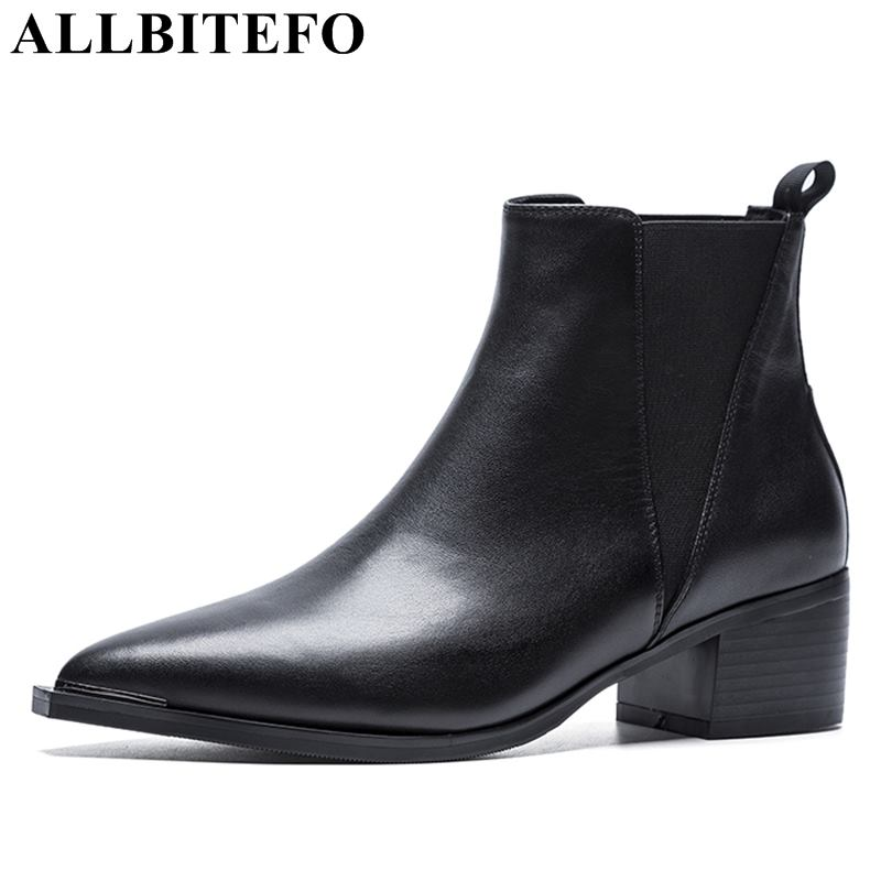 ALLBITEFO genuine leather pointed toe thick heel women boots high heels ankle boots girls shoes autumn winter motorcycle boots