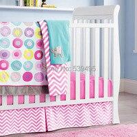 6 шт. кроватки детской комнаты для маленьких Спальня комплект детские постельные принадлежности розовый цвет детская кроватка постельных п