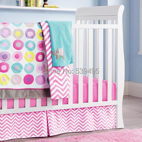 6 Pc Crib Infant Room Kids Baby Bedroom Set Nursery Bedding Pink Color Cot For Newborn Boy