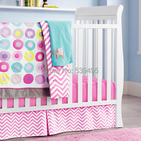 6 pc Crib Infant Room Kids Baby Bedroom Set Nursery Bedding pink color cot bedding set for newborn baby girl boy