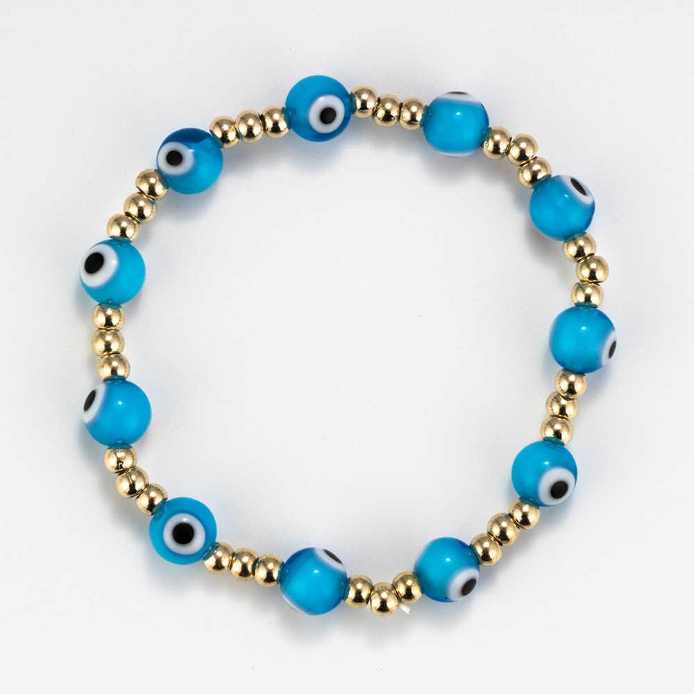 Meibeads 1 PC Trendi 6/8 Mm Mata Jahat Gelang Colorful Manik-manik Resin Teleskopik Gelang untuk Wanita Gadis Musim Panas yoga Perhiasan Hadiah