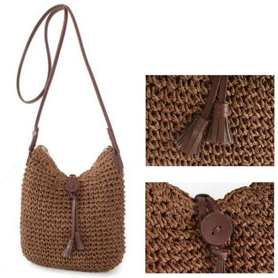 Summer Bohemian Beach Straw Bags Diagonal Small Crochet Womens