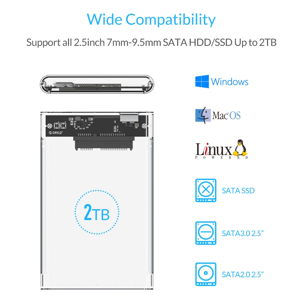 ORICO 2,5 inch Transparant HDD-hoesje USB3.0 naar Sata 3.0 Tool - Externe opslag - Foto 4