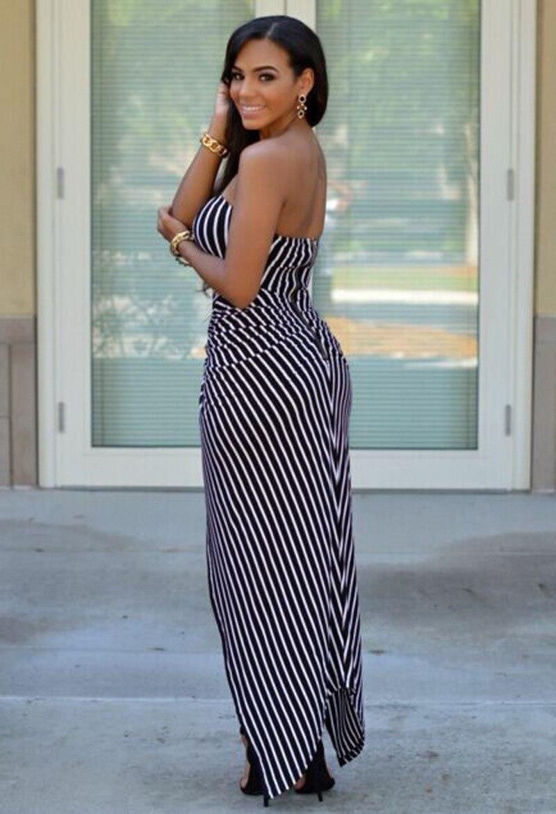 White Black Striped Strapless High Low Maxi Dress Sleeveless Long ...