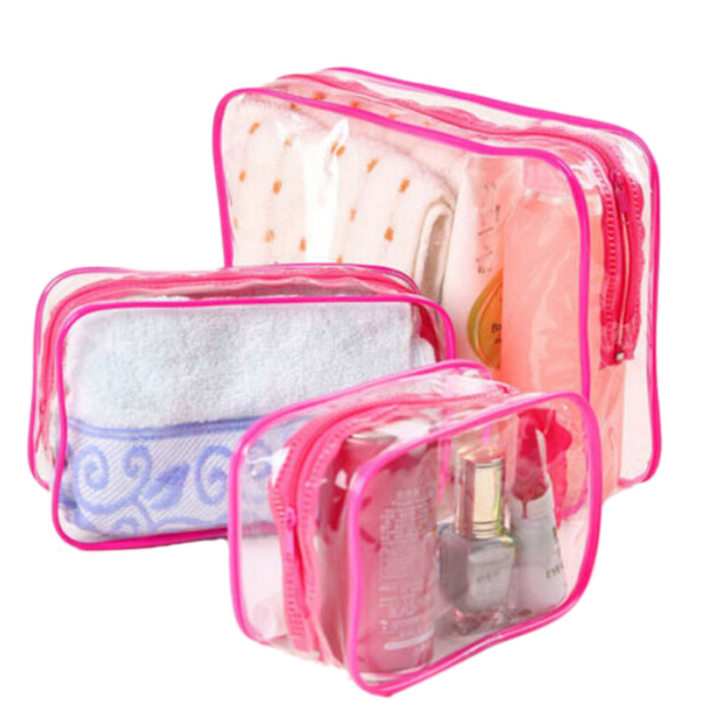 Plastic Transparent Organizer Bags Cosmetic Bags Makeup Casual Travel Waterproof Toiletry Wash Bathing Storage Bag