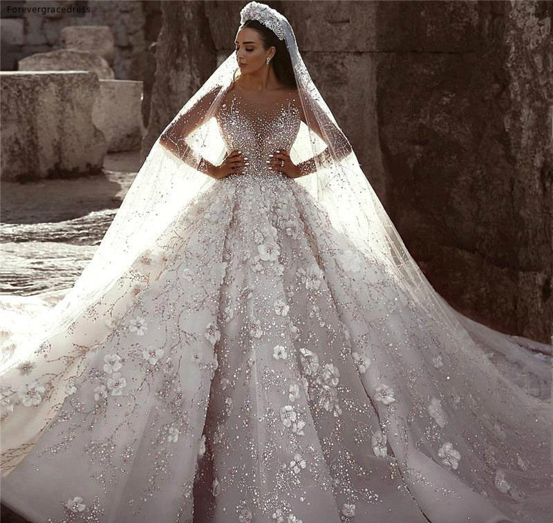 Glamorous Luxury Dubai Arabic New Fashion Lace Ball Gowns Wedding Dresses Long Sleeves 3D Flowers Beading Wedding Dress Bridal Gowns BC0151 591 (5)