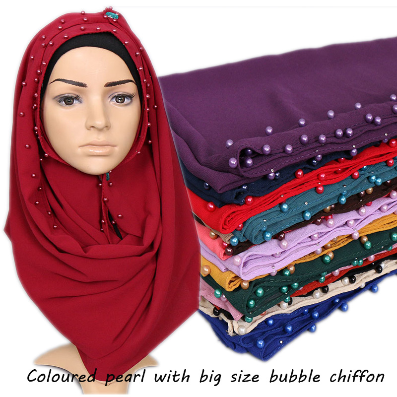 Nice Coloured pearl scarf Big size high quality bubble chiffon plain shawls hijab winter muslim 20