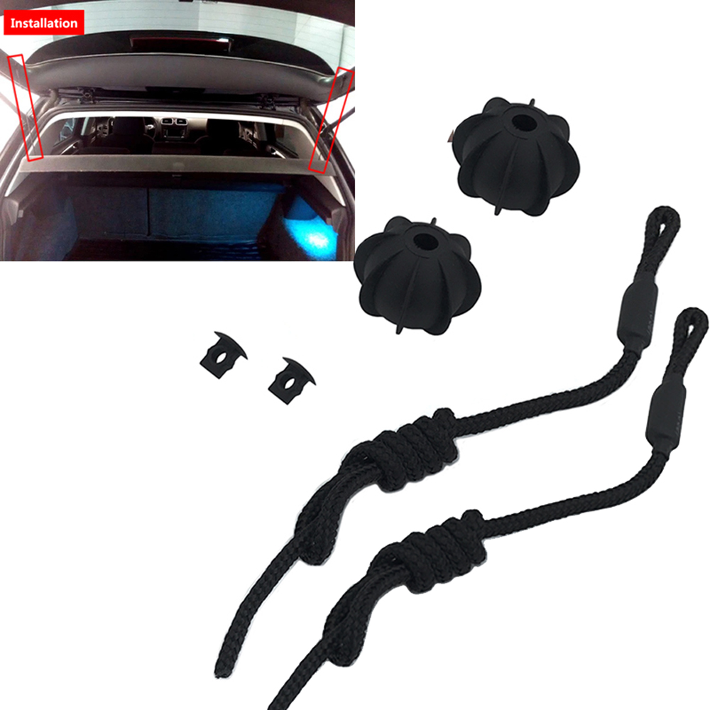 JEAZEA Car Black Rear Trunk Separator Lid Hang Sling Rope Line Lace For VW Golf GTI Mk5 MK6 Rabbit 1K6863447A 1K6863447A9B9