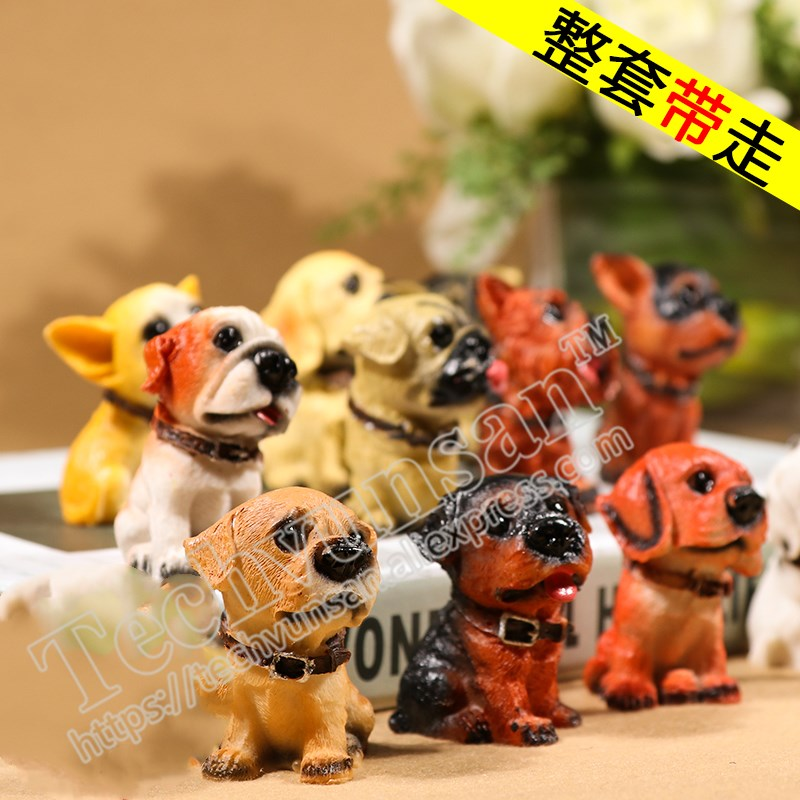12 dogs are simulated by a famous dog. Creative gift Desk, resin, animal ornaments Birthday gift