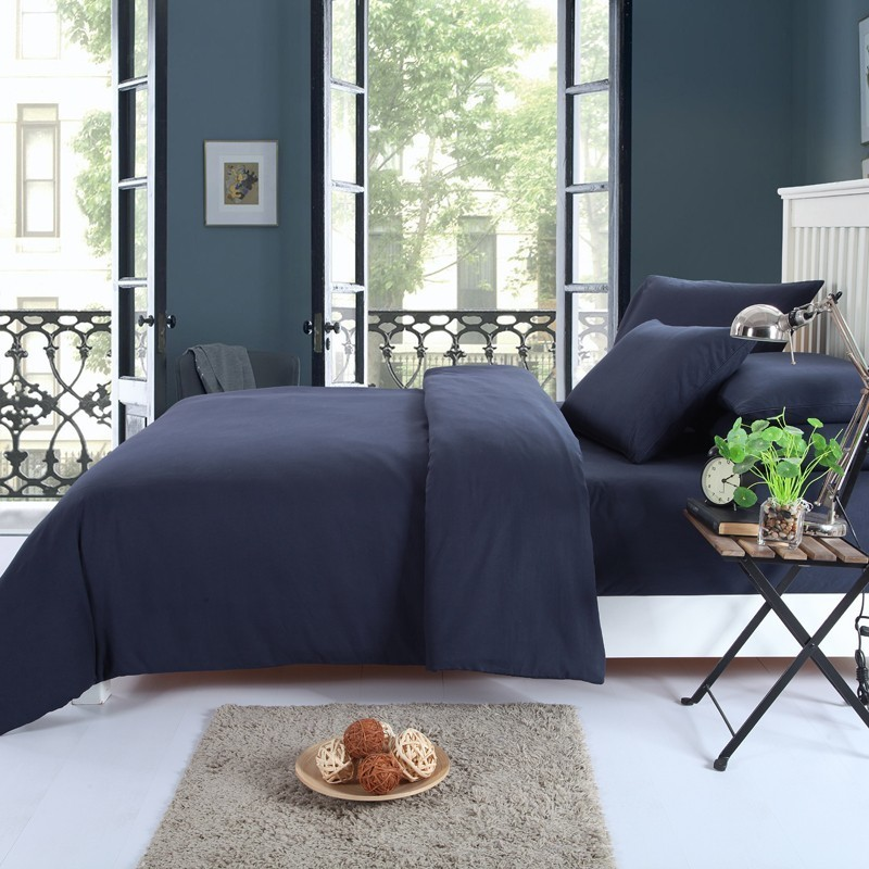 Solstice Home Textile Solid Color Dark Navy Blue Bedding Set Boy Kid Teen Adult Girl Linen Duvet Cover Pillowcase Bed Flat Sheet