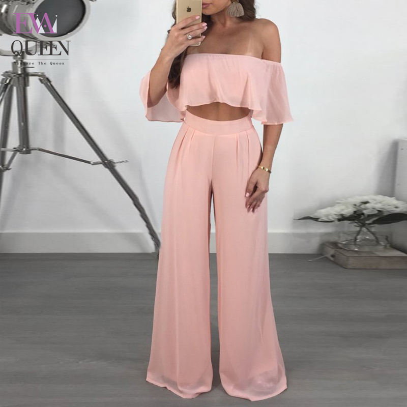 Evaqueen Sexy backless off shoulder   jumpsuit   women Tiered ruffle high waist   jumpsuit   romper Chiffon Split casual overall femme