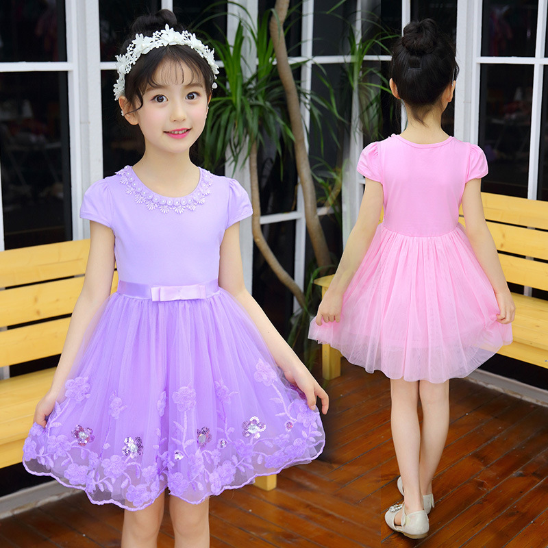 Kids Girls Wear Short Sleeve Large Girl Korean Lace Flower Mesh Puff Children Christmas Party Dance Princess Dress