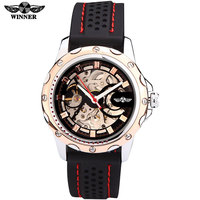 Watches Men Luxury Brand Sports Military Skeleton Wristwatches Automatic Wind Mechanical Watch Rubber Strap Relogio Masculino