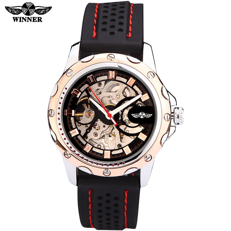 2016 Winner brand watches men sports fashion skeleton wristwatches automatic mechanical watch rubber strap relogio masculino winner fashion men mechanical watches leather strap silver case new casual brand analog automatic wristwatches relogio masculino