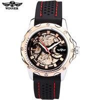 2016 vencedor marca relógios homens esportes moda esqueleto de pulso automático relógio mecânico pulseira de borracha relogio masculino