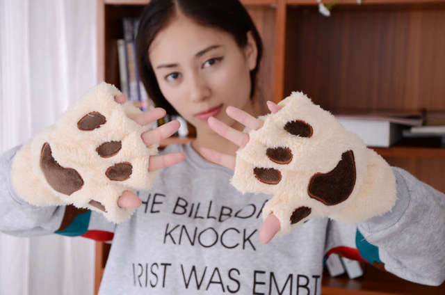 800pair/lot Fluffy Bear/Cat Plush Paw/Claw Glove soft toweling lady's half covered gloves