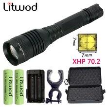 Litwod lampe torche déquitation Z90 lampe de poche LED XHP70.2, lanterne puissante, lampe tactique étanche pour Camping, Zoom 18650 lm