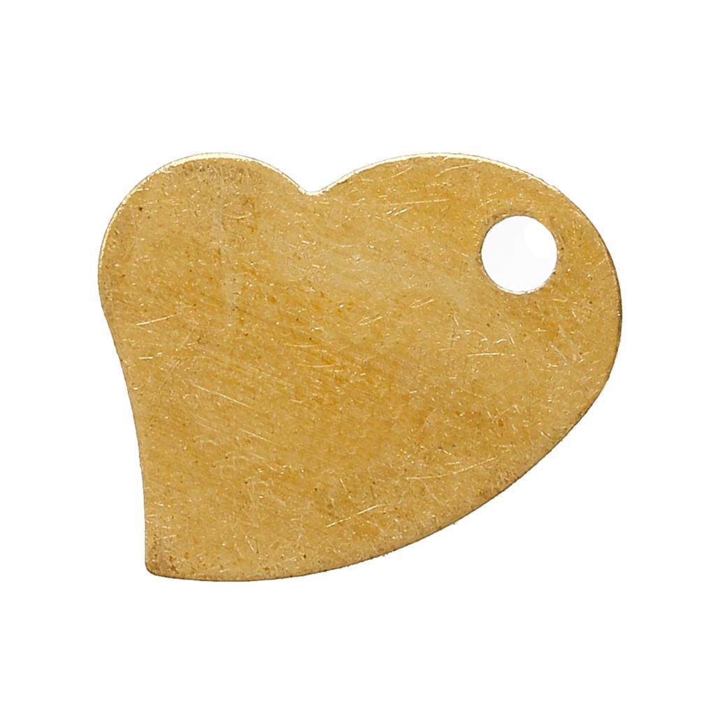 DoreenBeads Copper Charm Pendants Heart Light Golden 18.0mm( 68) x 14.0mm( 48), 7 PCs 2015 new