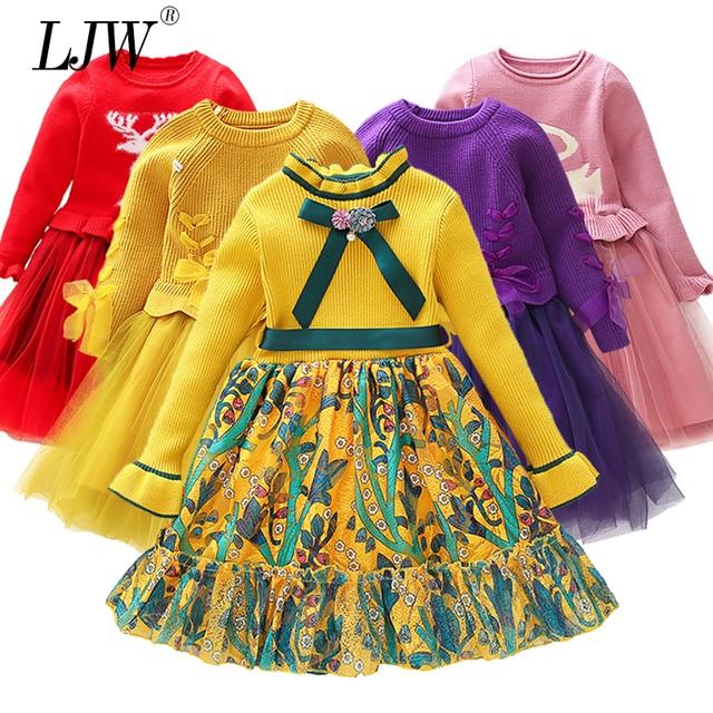 Осенне-зимнее вязаное платье с надписями, платье с принтом для девочек, пуловер, одежда для вечерние маленьких девочек на день рождения, детский Рождественский костюм bebe