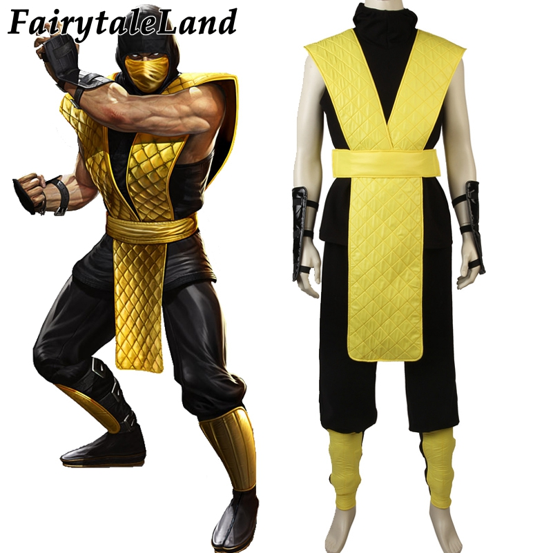 Mortal Kombat X Scorpion Cosplay Costume Halloween Costumes Custom made Cosplay Scorpion Costume Hot Game Mortal Kombat Costume