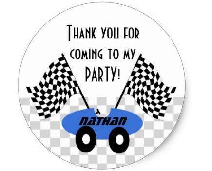 Купить с кэшбэком 1.5inch Race Car Birthday Classic Round Sticker