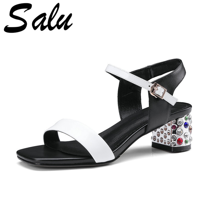 Salu Chaussures Femme 2019 Genuine Leather Summer Shoes Woman Fashion Square Women Sandals Casual Beach Women ShoesSalu Chaussures Femme 2019 Genuine Leather Summer Shoes Woman Fashion Square Women Sandals Casual Beach Women Shoes