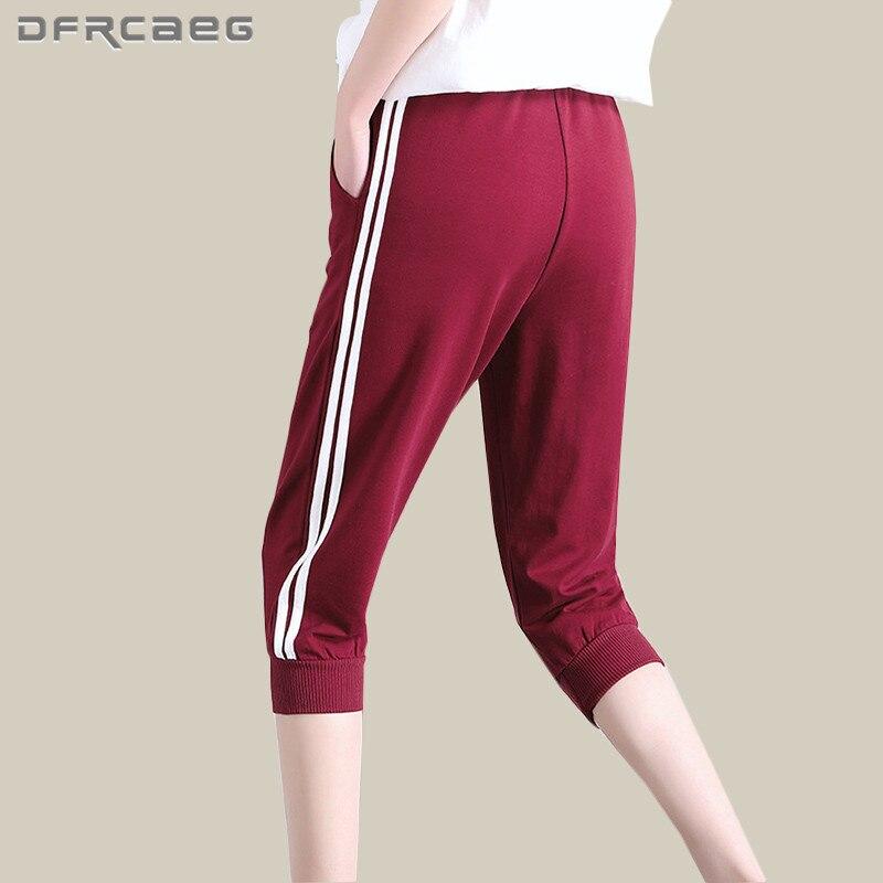 Summer Women Cotton Harem   Pants   2018 Fashion   Capris   Side Striped   Pants   Loose Sweatpants Casual Female Trousers For jogger