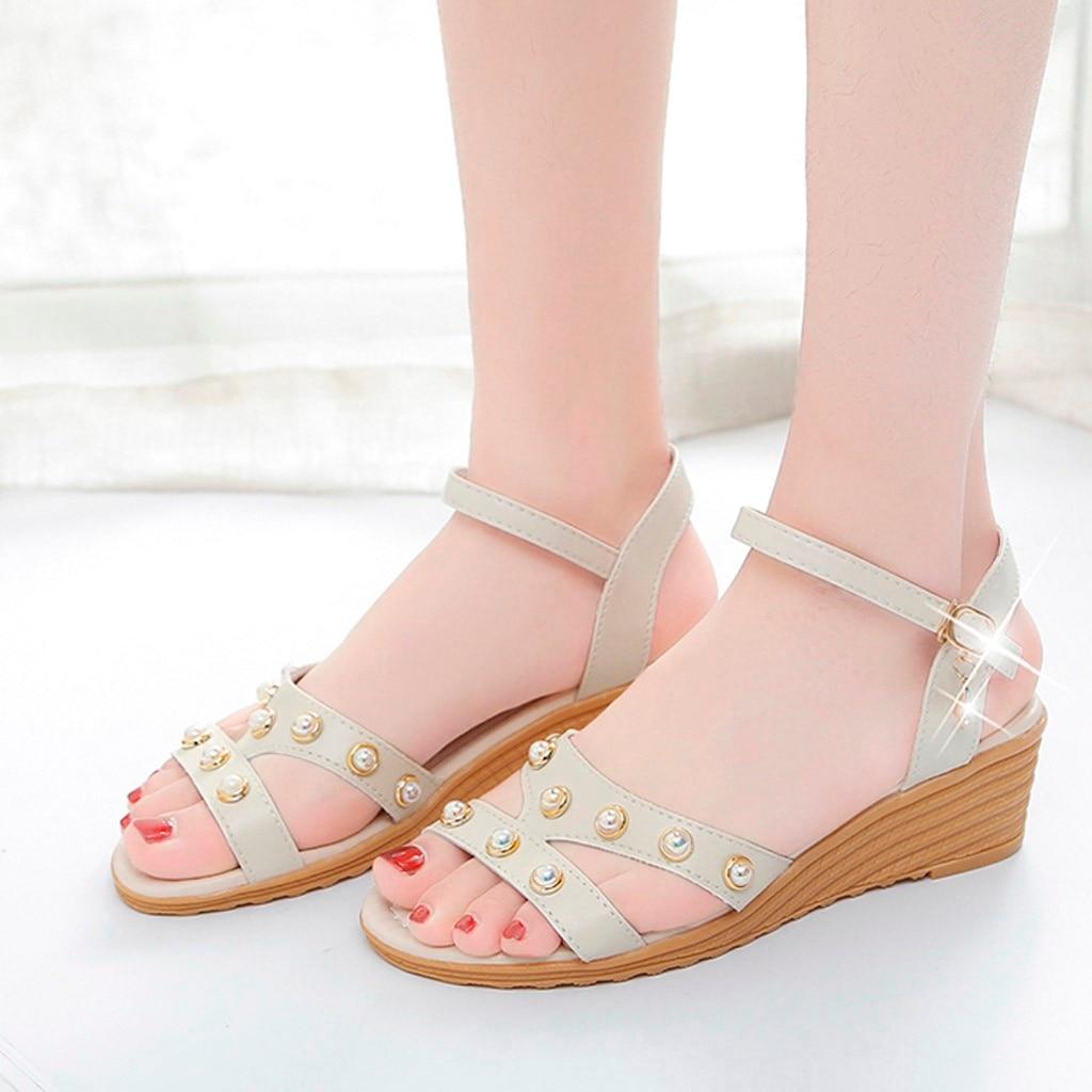 Pour Mode Chaussures De Perles Plage Bleu Beige Décontractées Femmes xredCBo