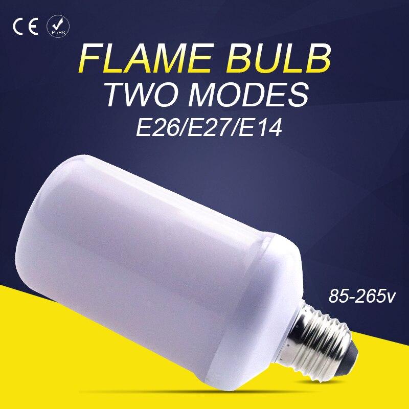 E14 LED lamp Flame Effect Fire Light Bulbs E26 AC85-265V Creative Lights Flickering Emulation Flame Lamp SMD2835 E27 99leds
