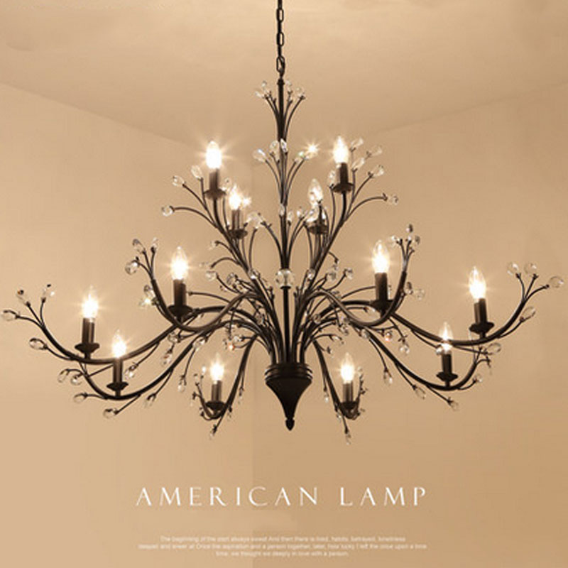 Living room chandeliers American villages Nordic simplicity creative personality designers art iron bedroom restaurant lighting creative personality warm rustic chandeliers birds e14 material iron ac220v