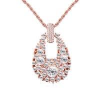 Hot 2017 Gorgeous Vintage Biżuteria Stopu Cynku Mody Różowe Złoto Kolor Kobiety Wisiorek Długi Naszyjnik Kryształ Z Austrii Prezenty