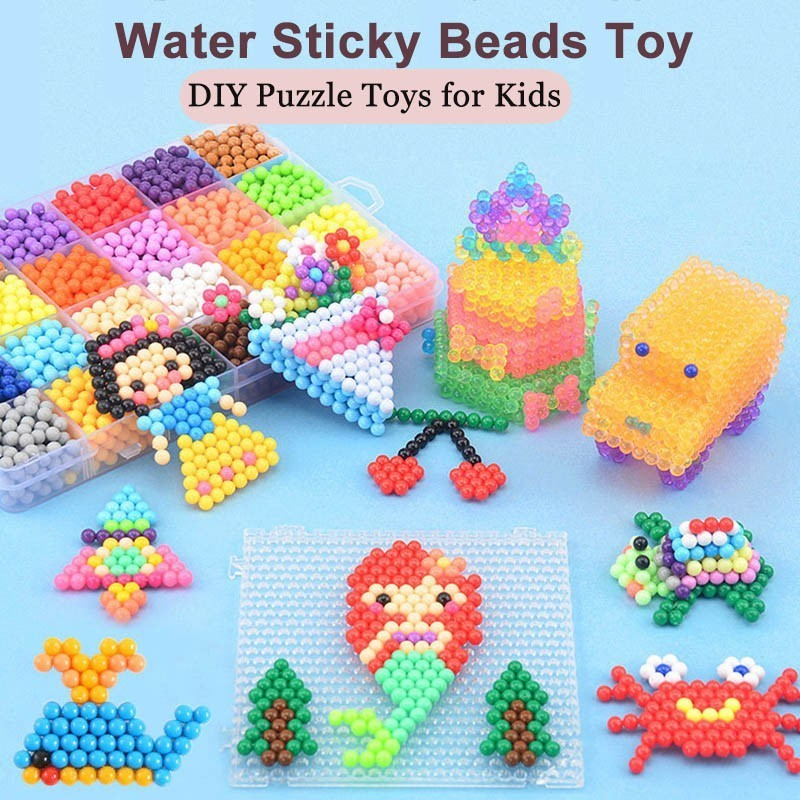 33 Colors 11400pcs Water Sticky Beads Toy Magic Handmade DIY Bead Paper Accessories Puzzle Toys For Kids Children Gift(China)