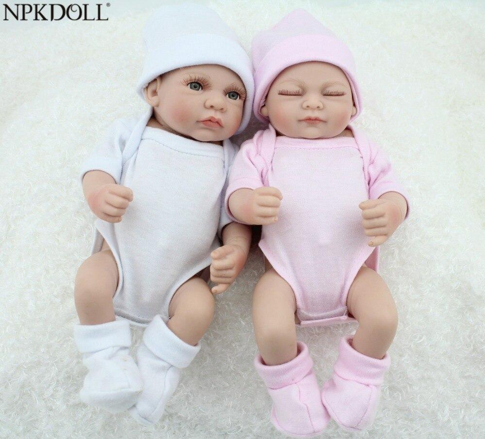 NPKDOLL 10 pouces Mini nouveau-né bébé jouer maison jouets plein vinyle corps poupées Reborn bébé jumeaux poupées pour enfants jouets pour filles