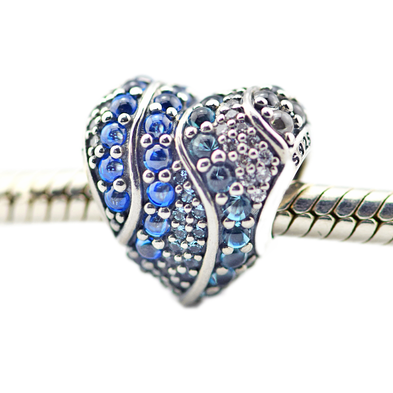 Spring New DIY Charms Fits Original Bracelets 925 Sterling Silver Aqua Blue Crystal Heart Beads for Jewelry Making Berloque