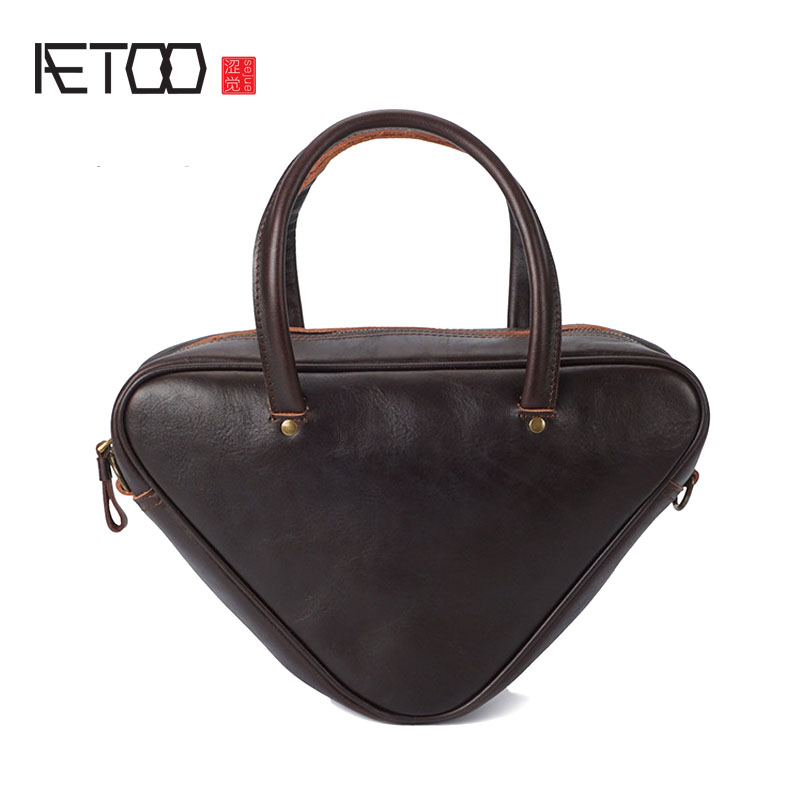 AETOO Leather new leather handbag Europe and the United States retro handbag first layer leather Messenger bag europe and the united states style first layer of leather lychee handbag fashion retro large capacity solid business travel bus