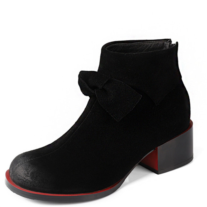 LOVEXSS Woman Autumn Winter Butterfly Knot Ankle Boots Fashion Plus Size 34 43 Martin Boots Black Apricot High Heeled Shoes 2018 lovexss woman genuine leather ankle boots autumn winter high heeled shoes fashion plus size 32 43 black work chelsea boots