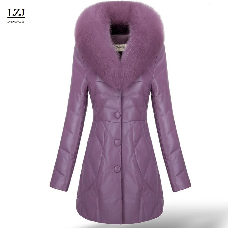 LZJ Ladies new leather down jacket fashion fur jacket coat lady fox fur collar coat long paragraph natural fur turtleness coat