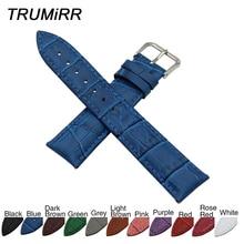 Croco Genuine Leather Watchband 8/10/12/14/16/17/18/19/20/21/22/23/24/26/28/30/32mm Watch Band Steel Buckle Strap Wrist Bracelet