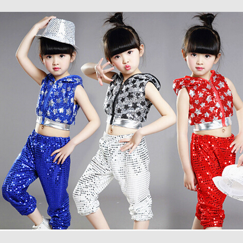 Free shipping,silver red children girl boy performance flashing paillette sequins Hip hop Jazz modern dance suit costume pants