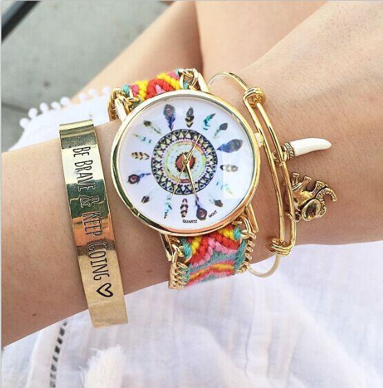 DHL bezmaksas, 100gab / partija, 2015 Sieviešu dāmas Braid Weave Pulksteņi Krāsas Dreamcatcher Draudzības pulksteņa sejas rokassprādzes pulksteņi