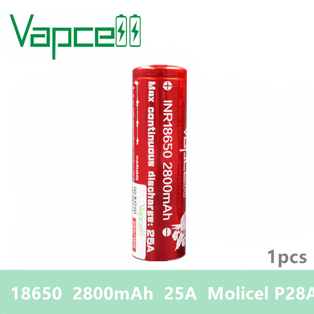 1pcs Original vaper cell Vapcell INR <font><b>18650</b></font> <font><b>battery</b></font> <font><b>2800mah</b></font> 25A Molicel P28A 3.7v qualified products charger <font><b>battery</b></font> E-CIG smoke image